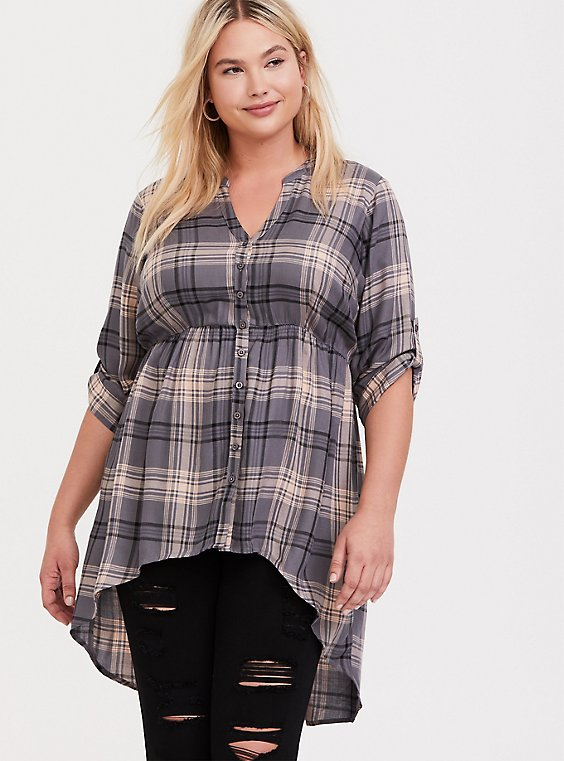 Lexie - Grey & Blush Pink Plaid Chiffon Hi-Lo Babydoll Tunic, , hi-res