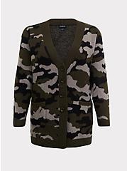Camo Button Front Cardigan, CAMO-GREEN, hi-res