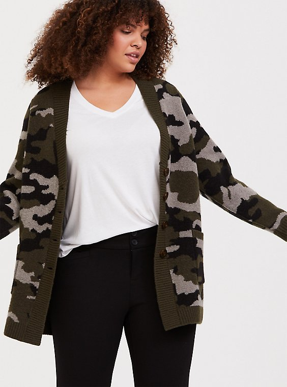 Camo Button Front Cardigan, , hi-res