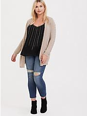 Oatmeal Open Front Stitched Cardigan, MUSHROOM, alternate