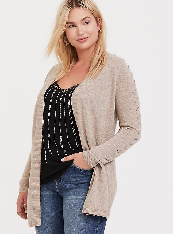 Oatmeal Open Front Stitched Cardigan, , hi-res