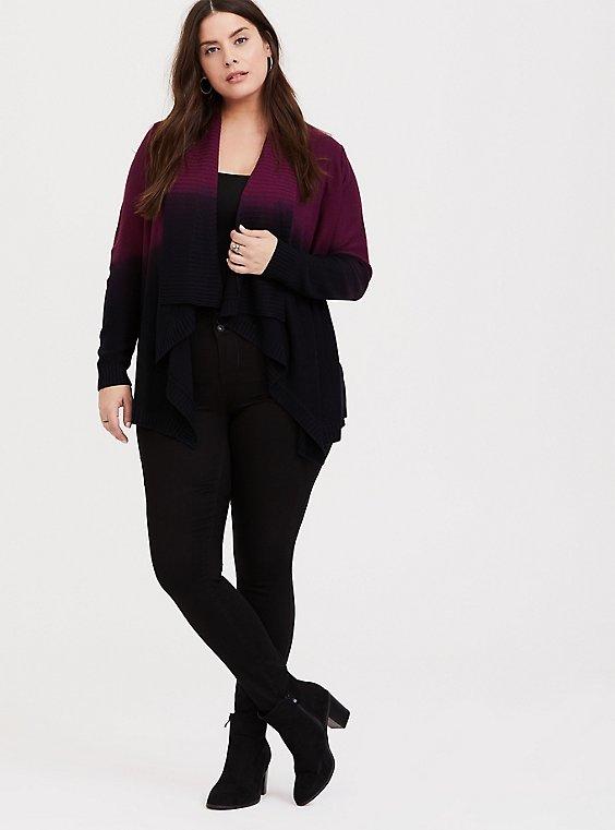 Plus Size Burgundy Purple & Black Knit Dip Dye Drape Cardigan, , hi-res