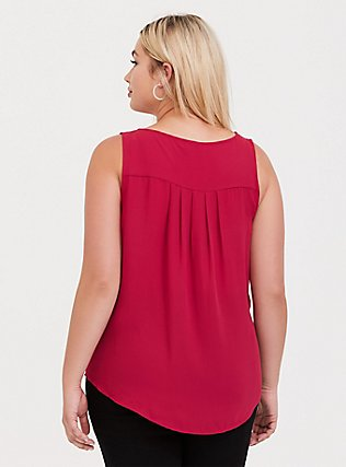 Plus Size Red Georgette Flounce Tank, RED, alternate