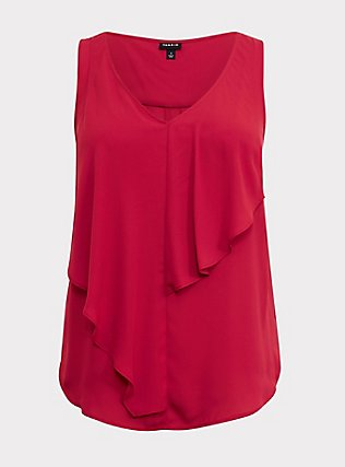 Plus Size Red Georgette Flounce Tank, RED, flat