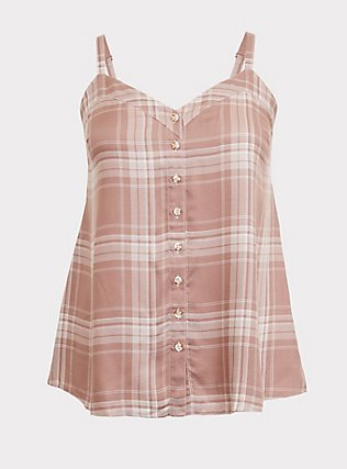 Sophie - Taupe Plaid Tie Swing Cami, MULTI, flat