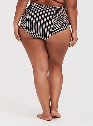 Plus Size Multi Metallic Stripe High Waist Ruched Swim Bottom, MULTI, alternate