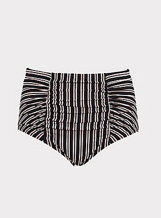 Plus Size Multi & Metallic Stripe High Waist Swim Bottom, MULTI, flat