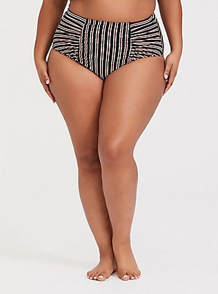 Plus Size Multi Metallic Stripe High Waist Ruched Swim Bottom, MULTI, hi-res