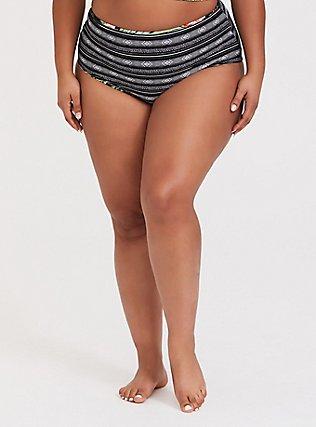 Plus Size Black Palm Reversible Brief Swim Bottom, MULTI, alternate