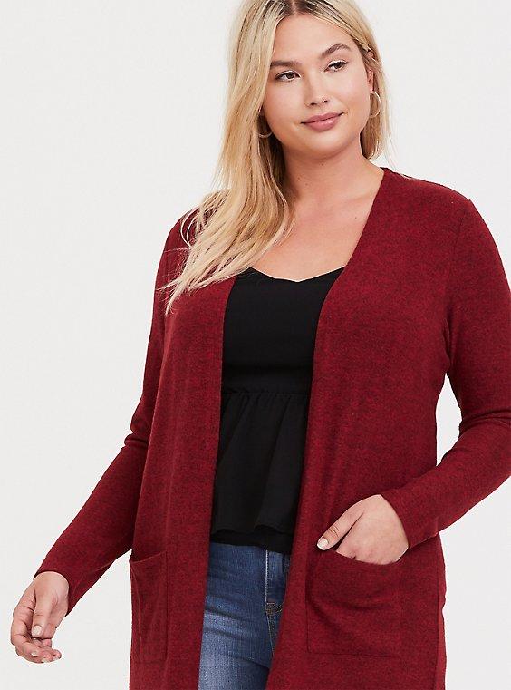 Plus Size Super Soft Plush Red Pocket Longline Cardigan, , hi-res