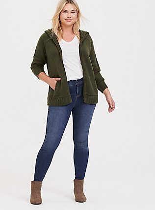 Plus Size Olive Green Rib Star Elbow Patch Zip Hoodie, DEEP DEPTHS, alternate