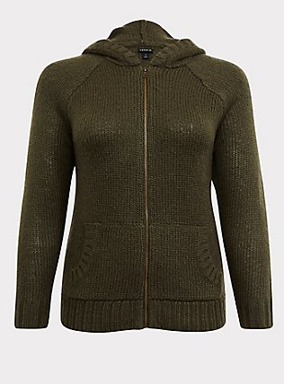 Plus Size Olive Green Rib Star Elbow Patch Zip Hoodie, DEEP DEPTHS, flat