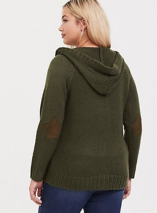 Plus Size Olive Green Rib Star Elbow Patch Zip Hoodie, DEEP DEPTHS, hi-res