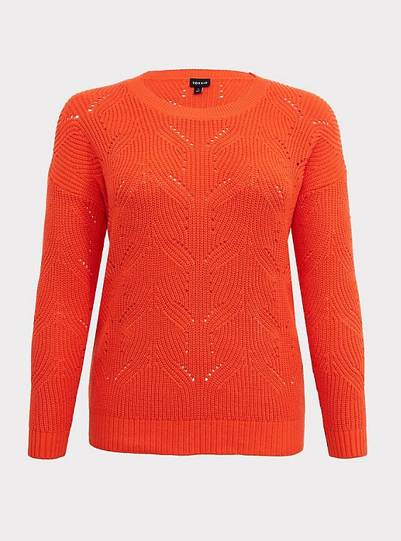 Plus Size Neon Orange Pointelle Pullover Sweater, , flat