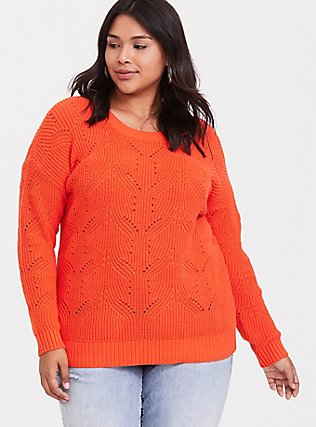 Neon Orange Pointelle Pullover Sweater, TANGERINE TANGO, hi-res