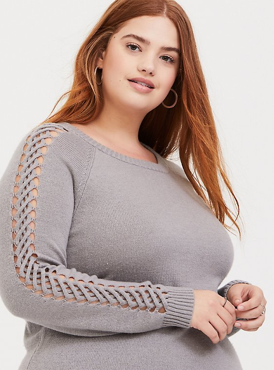 Light Grey Lattice Sleeve Sweater, , hi-res
