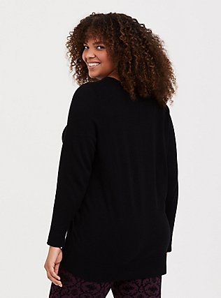 Plus Size Black Knitted Relaxed Fit Bow Pullover Sweatshirt, DEEP BLACK, alternate