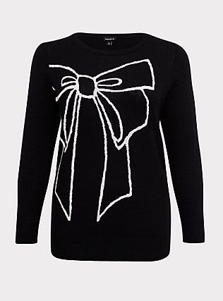 Plus Size Black Knitted Relaxed Fit Bow Pullover Sweatshirt, DEEP BLACK, flat