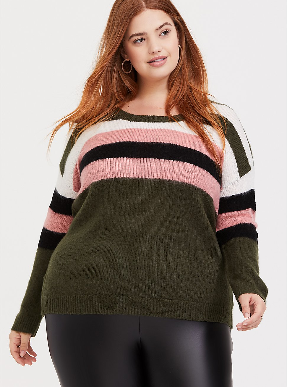 Plus Size Olive Green Multi-Color Striped Knit Sweater, , hi-res