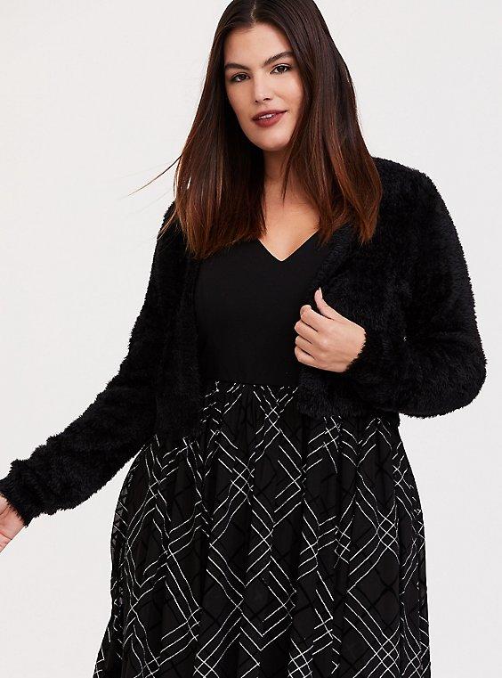 Plus Size Black Fuzzy Knit Open Front Shrug, , hi-res
