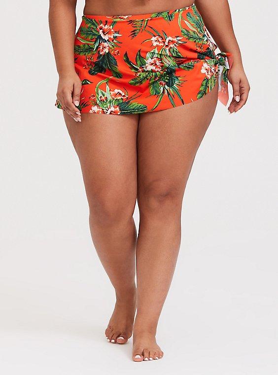 Orange Tropical High Waist Asymmetrical Swim Skirt, , hi-res