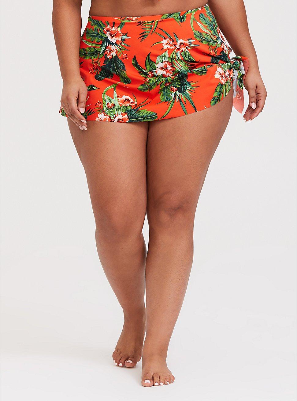 Orange Tropical High Waist Asymmetrical Swim Skirt, MULTI, hi-res