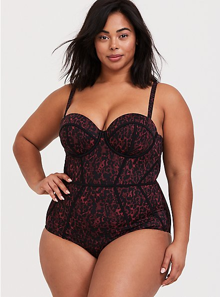 Plus Size Burgundy Red Leopard Underwire One-Piece Swimsuit, MULTI, hi-res