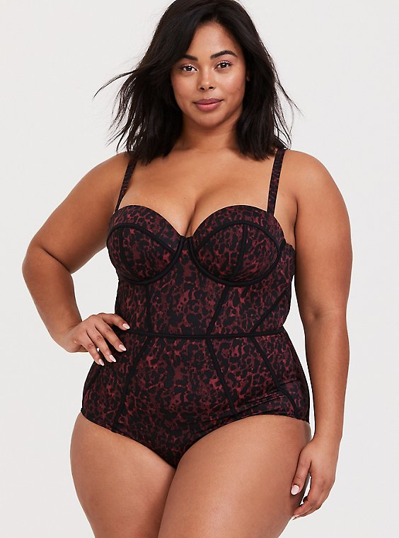 Plus Size Burgundy Red Leopard Underwire One-Piece Swimsuit, , hi-res