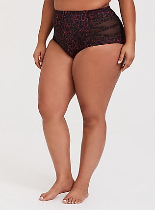 Plus Size Burgundy Red Leopard Lattice Mesh Swim Bottom, MULTI, hi-res