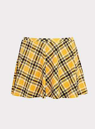 Plus Size Yellow Plaid High Waist Skater Swim Skirt, MULTI, flat