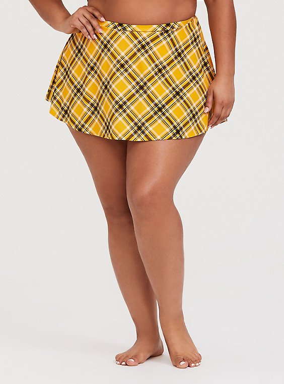 Plus Size Yellow Plaid High Waist Skater Swim Skirt, , hi-res
