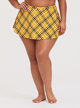 Yellow Plaid High Waist Skater Swim Skirt, MULTI, hi-res