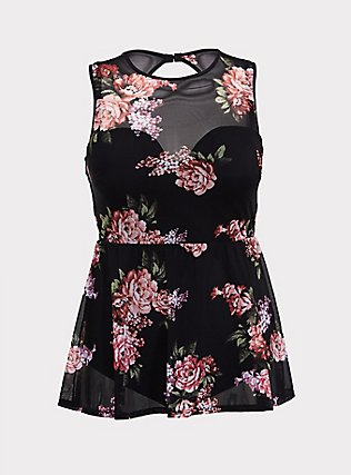 Plus Size Black Floral Mesh Peplum Lightly Lined Underwire One-Piece Swimsuit, MULTI, flat