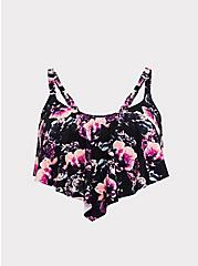 Black Floral Wireless Flounce Bikini Top, MULTI, hi-res