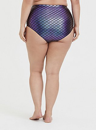 Plus Size Purple Iridescent Mermaid High Waist Swim Bottom, MULTI, alternate