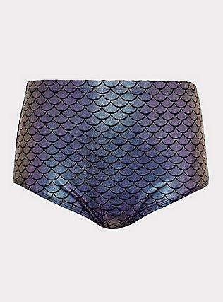 Plus Size Purple Iridescent Mermaid High Waist Swim Bottom, MULTI, flat