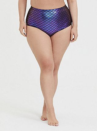 Plus Size Purple Iridescent Mermaid High Waist Swim Bottom, MULTI, hi-res