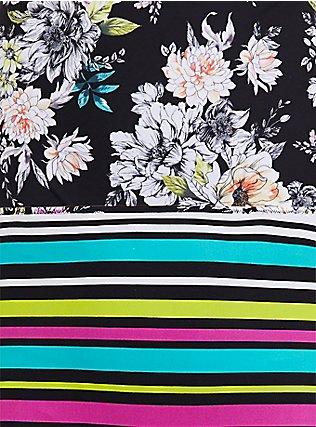 Black Floral & Stripe Reversible Wireless Triangle Bikini Top, MULTI, alternate