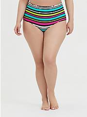 Black Floral & Stripe Reversible Brief Swim Bottom, MULTI, alternate