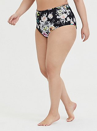 Plus Size Black Floral & Stripe Reversible Brief Swim Bottom, MULTI, hi-res