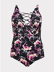 Plus Size Black Floral Deep-V Lattice Wireless One-Piece Swimsuit, MULTI, hi-res