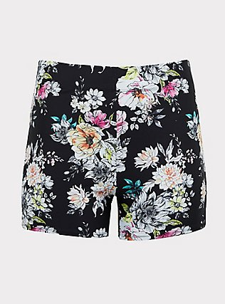Plus Size Black Floral Lattice Side Swim Short, MULTI, flat