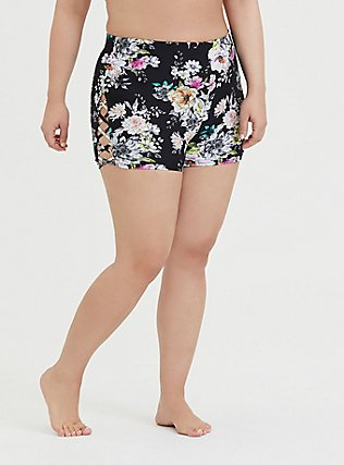 Plus Size Black Floral Lattice High Waist Swim Short, MULTI, hi-res