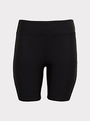 Plus Size Black Strappy Swim Bike Short, DEEP BLACK, flat