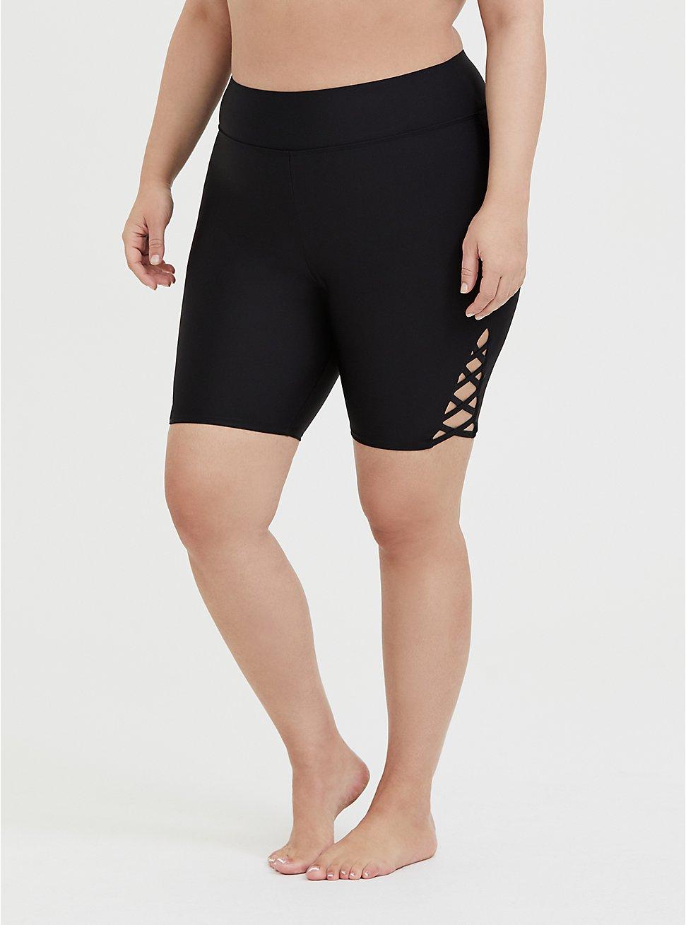 Black Lattice Side Swim Bike Short, DEEP BLACK, hi-res