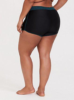 Plus Size Black & Dark Teal Space-Dye Swim Short, DEEP BLACK, alternate