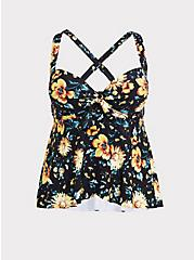 Black & Yellow Sunflower Knot Push-up Wireless Tankini Top, MULTI, hi-res