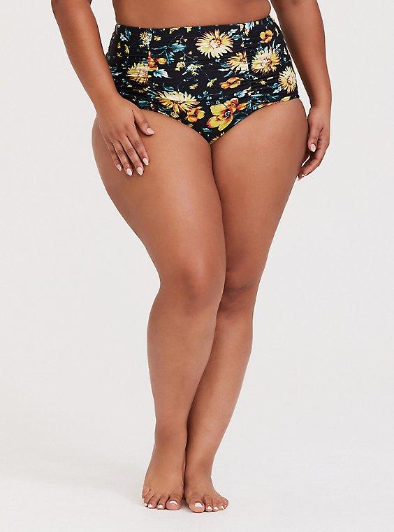 Plus Size Black & Yellow Sunflower High Waist Ruched Swim Bottom, , hi-res
