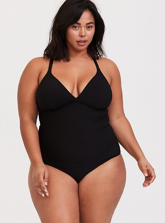 Plus Size Black Textured Shadow Stripe Lightly Lined Wireless One-Piece Swimsuit, , hi-res