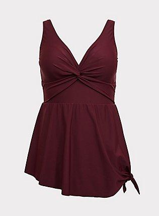 Burgundy Red Asymmetrical Wireless One-Piece Swim Dress, BURGUNDY, flat